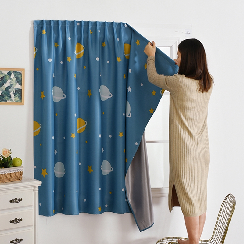 ผ้าม่านขนาดเล็ก velcro ผ้าม่านสำเร็จรูปฟรีเจาะวางแรเงาฉนวนกันความร้อนสั้นผ้าม่านประตู