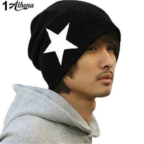 Star Skull Beanie Ski Crochet Knit Cap Women Men Hip-Hop Cuff Hat
