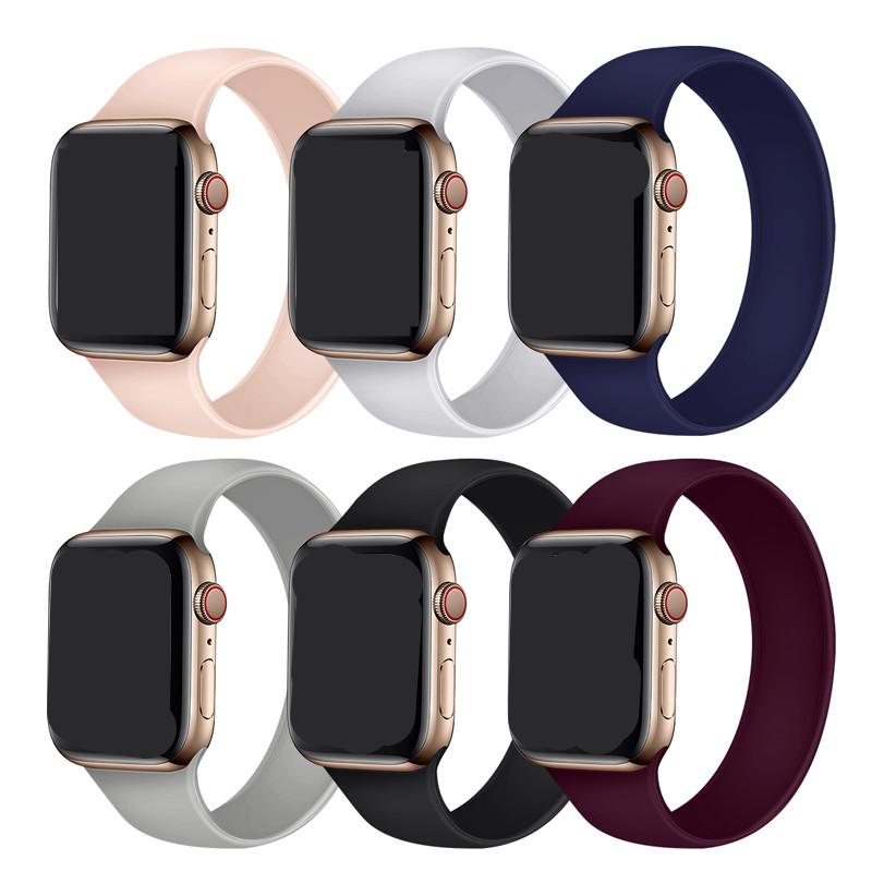 Apple Watch 6 Band Solo Loop สำหรับ Iwatch 5 4 3 2 38mm 40mm 42mm 44mm ซิลิโคนยืดหดได้สำหรับ Iwatch Series 1 ใหม่ สายนาฬิกายาง Apple Watch นาฬิกาแอปเปิ้ลวอช Applewatch