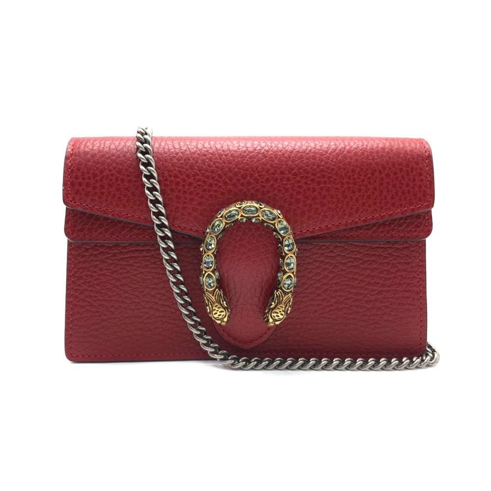 GUCCI Dionysus Super mini leather clutch cross-body bag (476432- สีแดง)