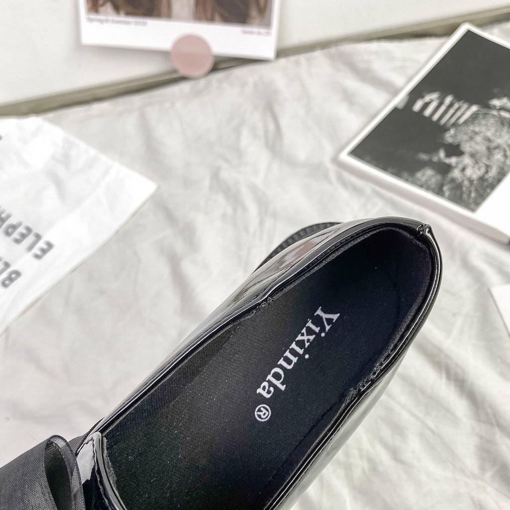 รองเท้าคัชชู ร้องเท้า รองเท้าผู้หญิง ▼Laofu รองเท้าหญิง 2021 ใหม่ขี้เกียจหนังสีดำรองเท้าเท้านุ่มผิวแบนรองเท้ารอบหัวย้อนย