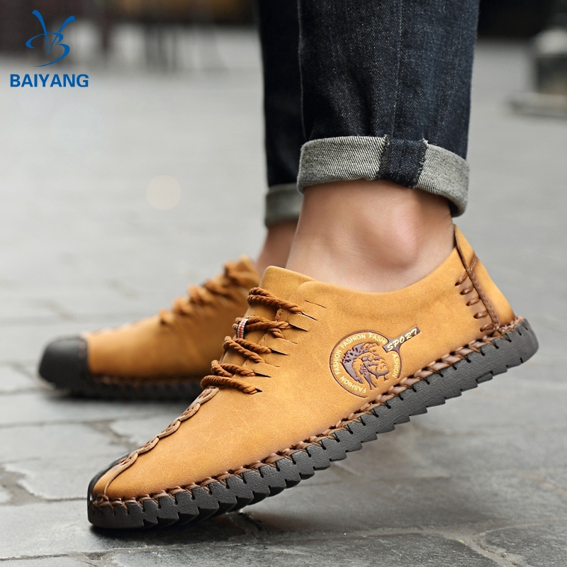 BY❤ รองเท้าคัชชู รองเท้าหนังแบบผูกเชือก รองเท้าหนังแฟชั่น รองเท้าโลฟเฟอร์ ผู้ชาย รองเท้า loafer รองเท้าหนังแท้ 04