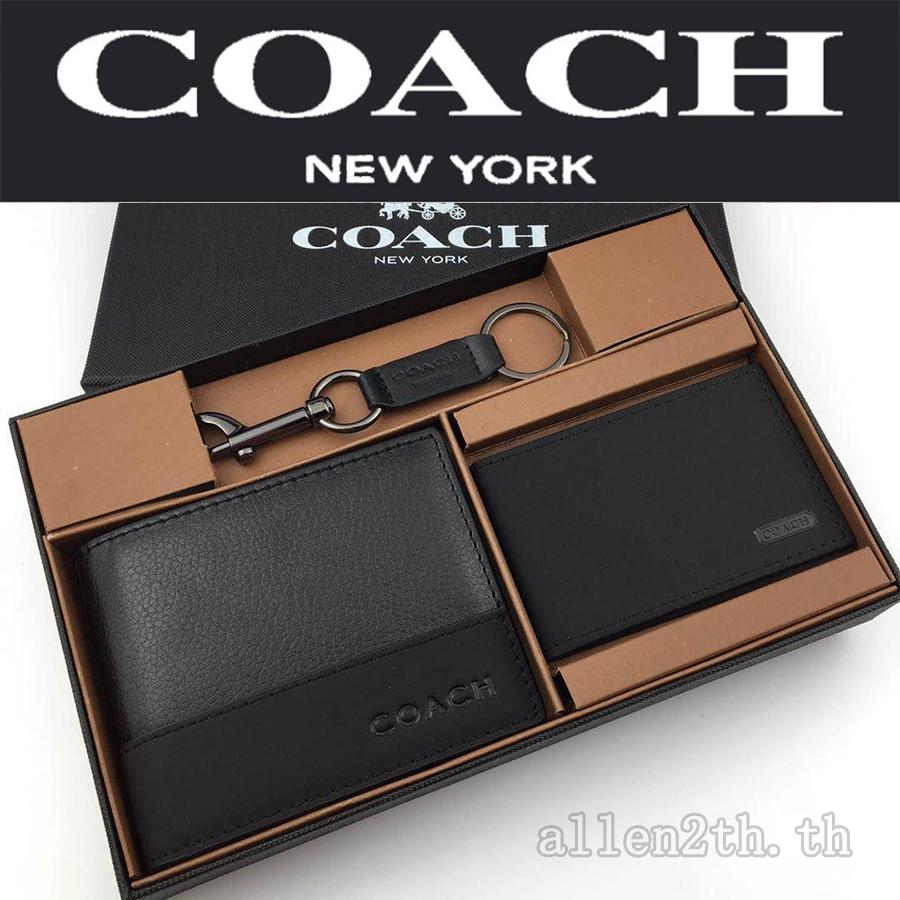 กระเป๋าสตางค์ Coach แท้ F74634 กระเป๋าสตางค์ผู้ชาย / กระเป๋าสตางค์ใบสั้น / กระเป๋าสตางค์หนัง