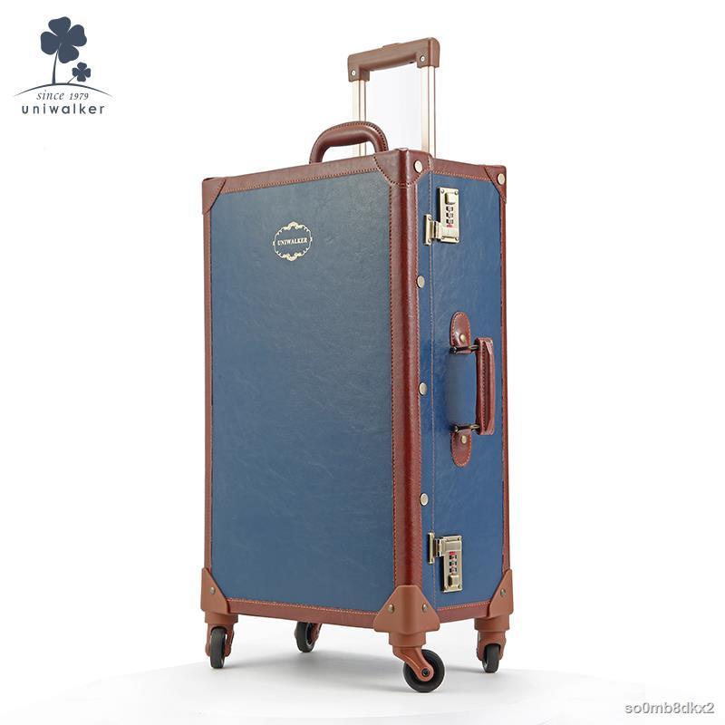 ♠ↂuniwalker กระเป๋าเดินทางย้อนยุค รถเข็นผู้หญิง ล้อสากล กระเป๋าเดินทางขนาด 20 นิ้ว กระเป๋าเดินทางใบเล็ก