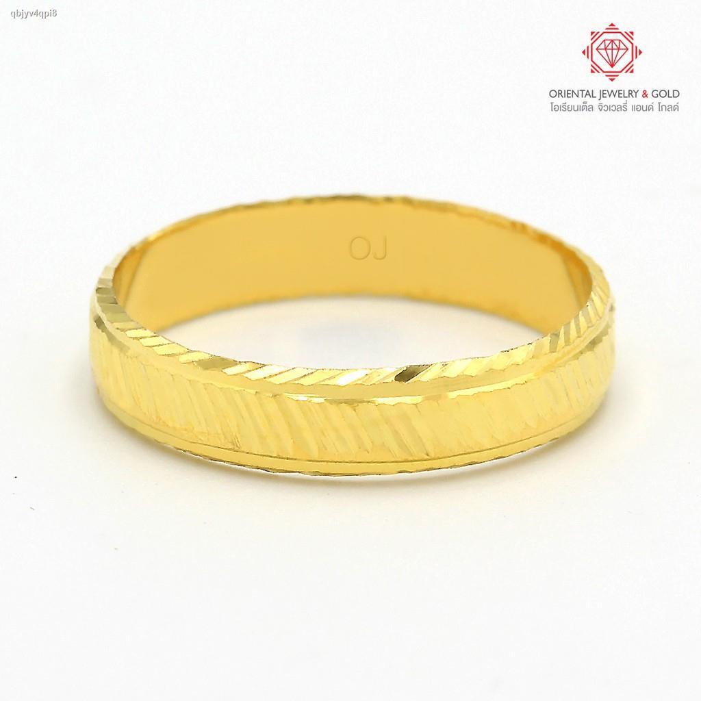 ราคาต่ำสุด✁[ถูกที่สุด] OJ GOLD แหวนทองแท้ นน. 1 กรัม 96.5% เหลี่ยมรุ้ง ขายได้ จำนำได้ มีใบรับประกัน แหวนทอง แหวนทองคำแท้