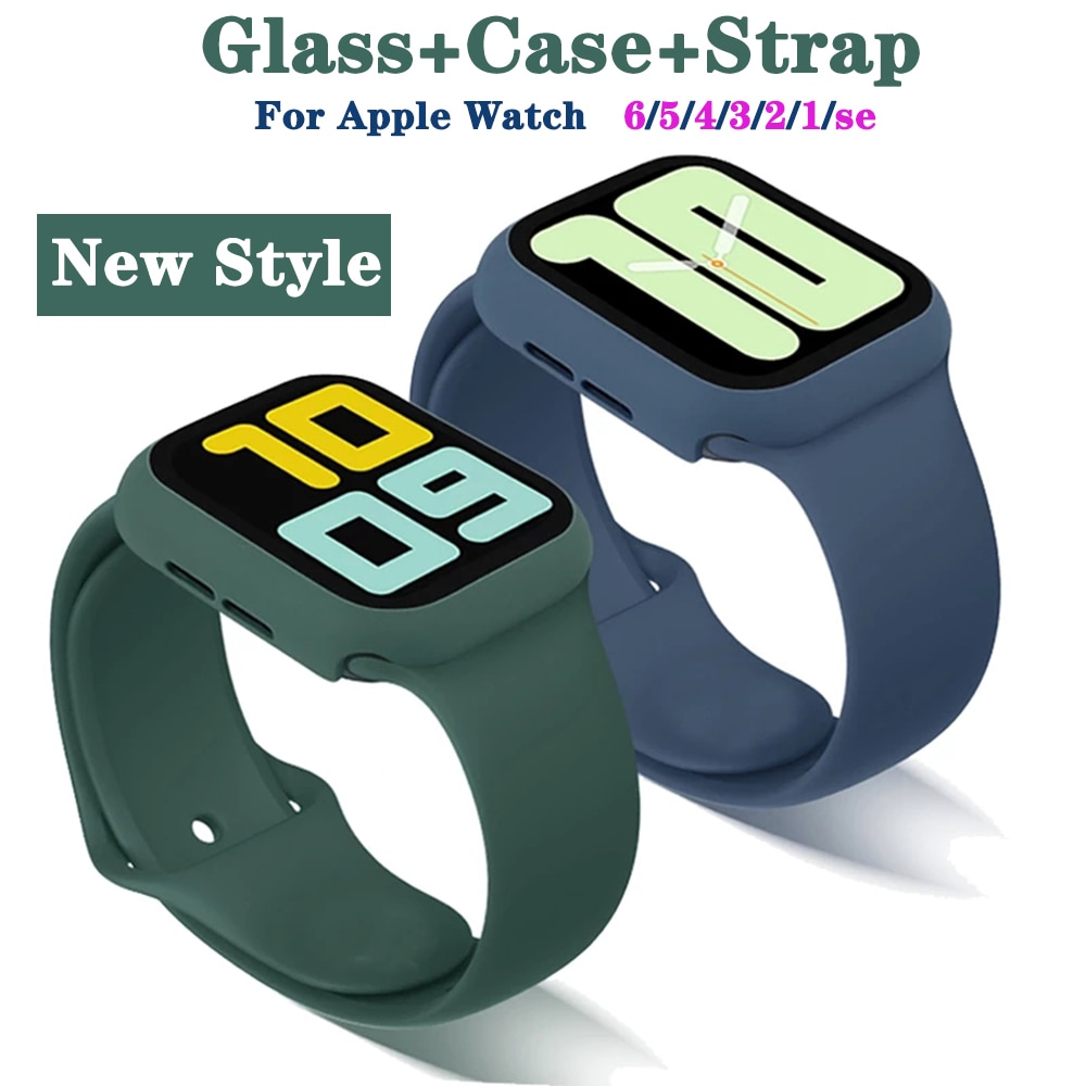 Case+Glass+Strap For Apple Watch Band Case Strap 44mm 40mm 38mm 42mm Bracelet For Apple Watch 6 5 se Accesories Screen Protector