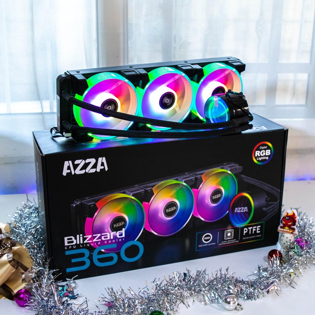 มีโค้ด10% Blizzard 360mm ARGB Dual riing Liquid Cooler AZZA ( ชุดน้ำ ปิด 3ตอน )