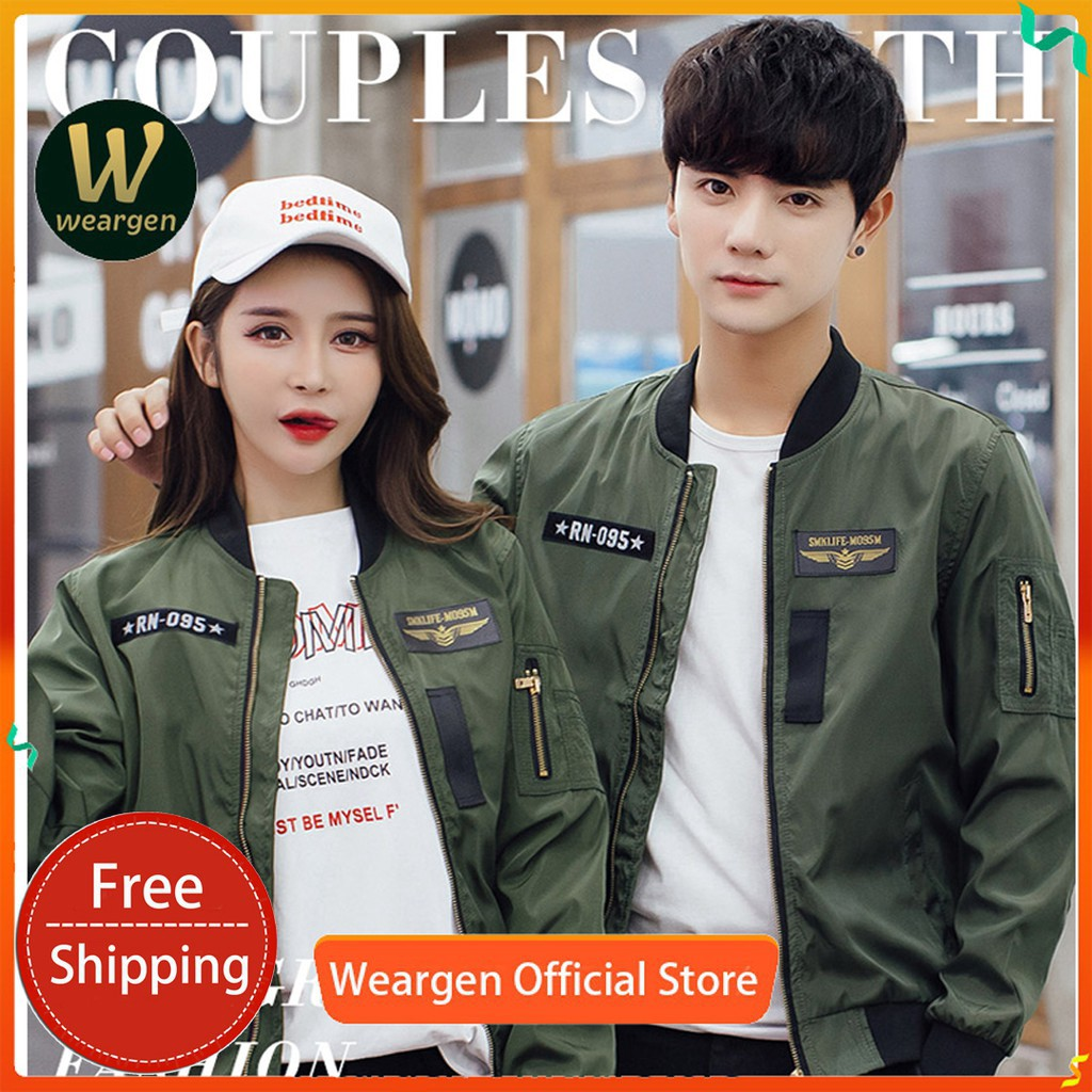 WUUYCOKY Women/Men MA-1 Air Force One Solid Flight Bomber Jacket Couple jacket