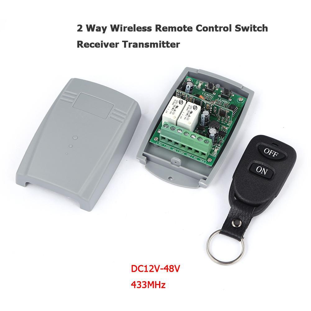 433MHz DC12V-48V 2 Way Wireless Remote Control Switch Receiver Transmitter