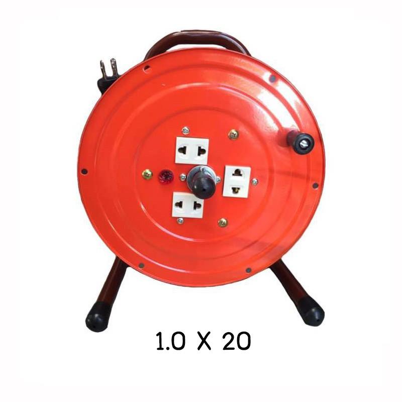VCT โรลสายไฟ โรลม้วนสายไฟ โรลเก็บสายไฟ ชุดม้วนสายไฟ ล้อสายไฟ ล้อเก็บสายไฟ ปลั๊กพ่วง ปลั๊กพ่วงสนาม VCT ขนาด 1.0 X 20 เมตร