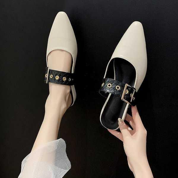 รองเท้าคัชชูเปิดส้นผู้หญิง รองเท้าคัชชูเปิดส้น รองเท้ากันลื่นผู้หญิงสวมใส่ 2021 ฤดูใบไม้ผลิแฟชั่นใหม่ชี้กระเป๋าสีดำ Mull