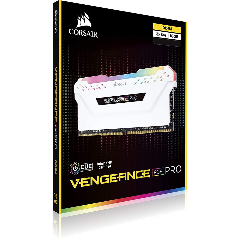 16GB ( 8GBx2 ) DDR4/3000 RAM PC (แรมพีซี) CORSAIR VENGEANCE RGB PRO (  CMW16GX4M2C3000C15 ) รับประกัน LT
