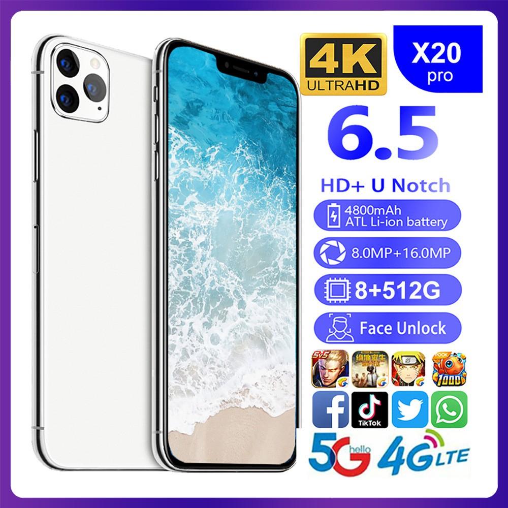 โทรศัพท์มือถือสมาร์ทโฟน X 20pro 8gb Ram 512 Gb Rom 6 . 5 นิ้ว 10 Cores 4g