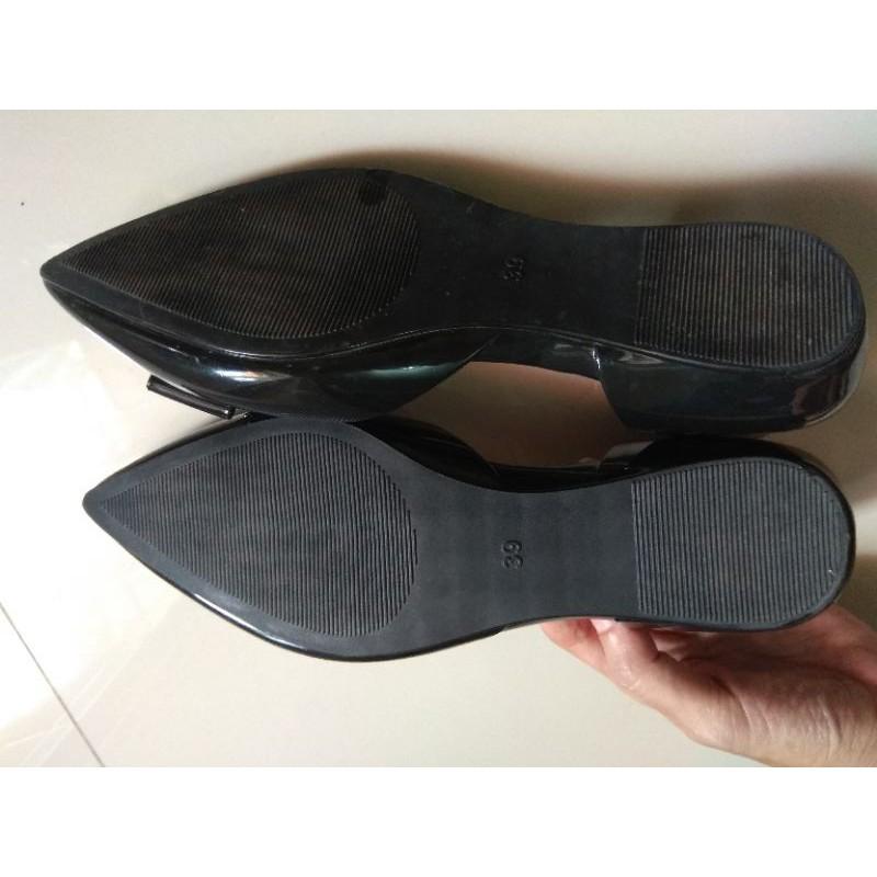 รองเท้าสลิปออนผู้หญิง﹍ รองเท้าคัชชูส้นเเบนสีดำเบอร์ 39