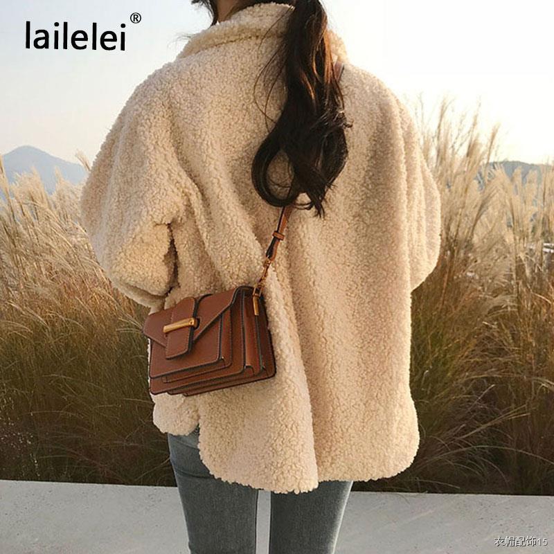 ❖✽❀Faux Fur Thick Coat For Women 2021 Autumn Warm Soft Loose Fur Jacket Female Outerwear Button Plush Ladies Casual Wint