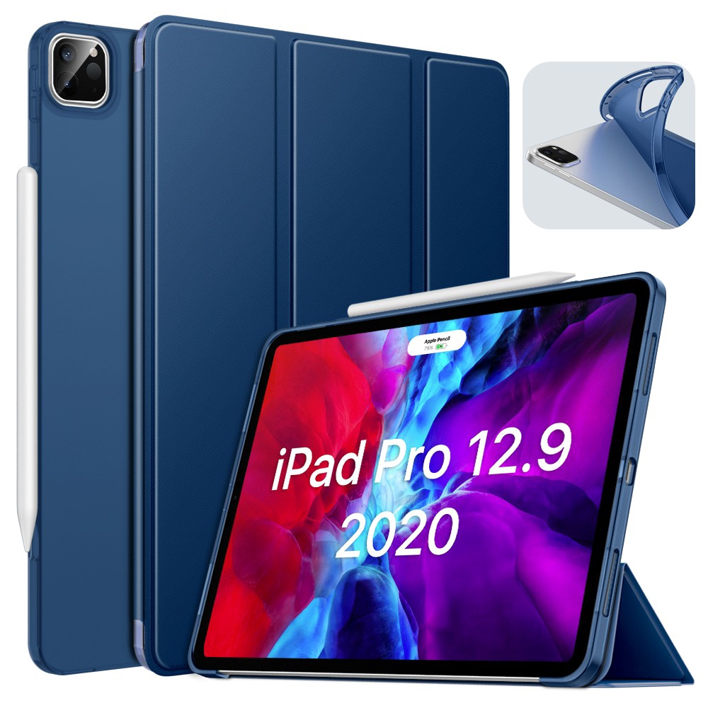 MoKo Case Fit iPad Pro 12.9 4th Generation 2020 [Support Apple Pencil 2 Charging] Case with Stand, Soft TPU Translucent Frosted Back Cover Slim Smart Shell, Auto Wake/Sleep