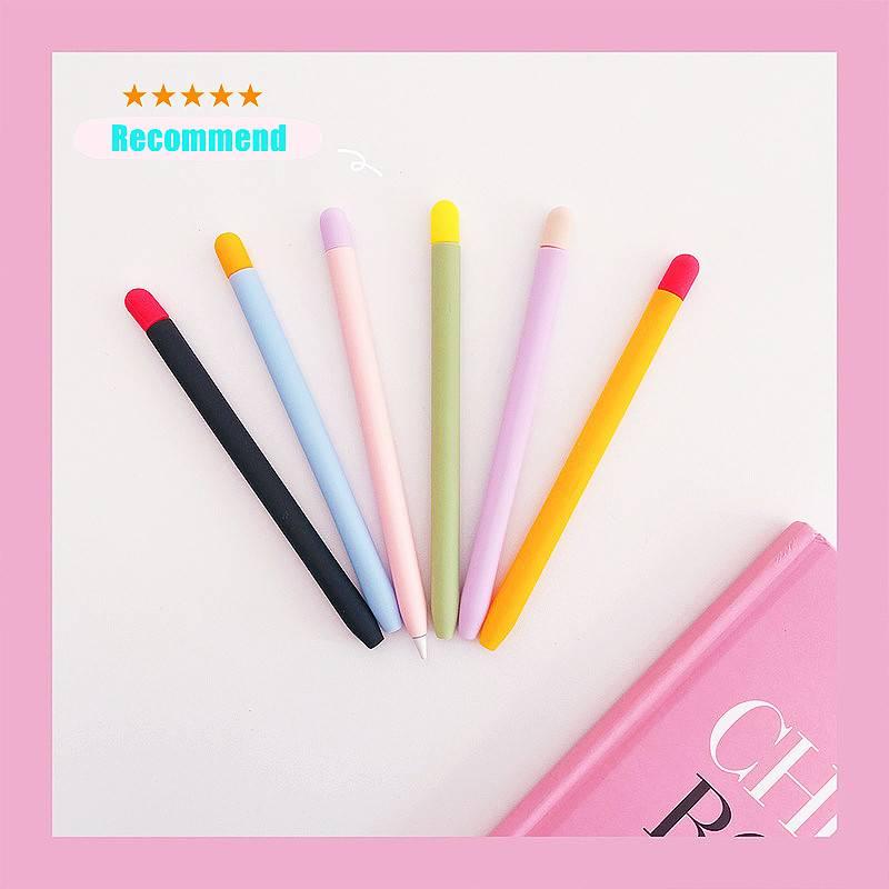 เคสซิลิโคนป้องกันการลื่นไถลสําหรับ Apple Pencil Case 2nd Generation Sleeve Mix 1 ชิ้น [1 ชิ้น + เคสซิลิโคน 1 ชิ้น]