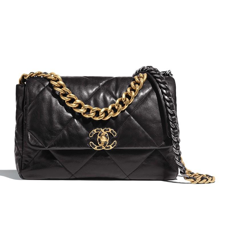แท้จริงChanel Women Chanel 19 Flap Bag In Goatskin Leather-Black