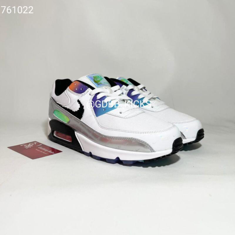Nike Airmax 90 Have A Good Game รองเท้าผ้าใบลําลองสีขาวดําเงิน 100%