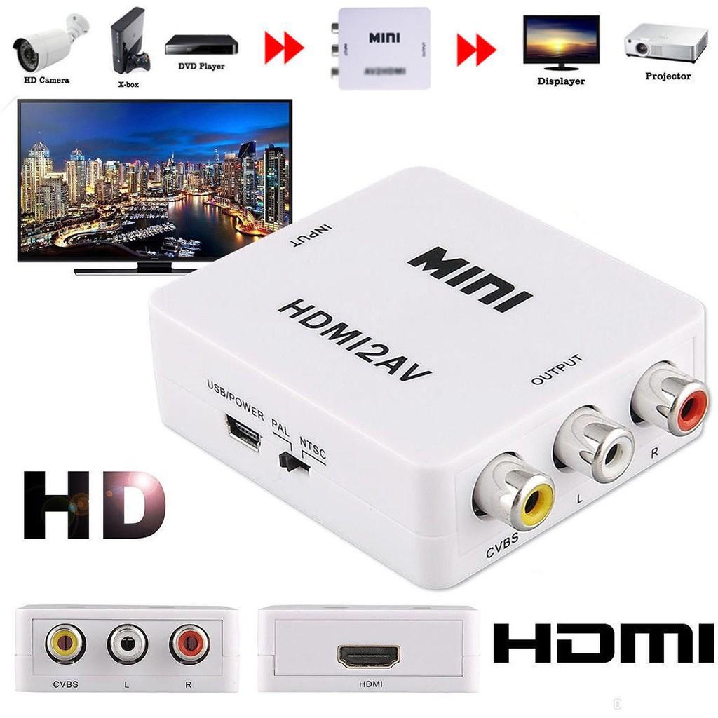 HDMI to AV Converter (1080P) hdmi to av กล่องแปลงVGA TO HDMI Convert ตัวแปลงสัญญาณ แปลงสัญญาณภาพและเสียงจาก HDMI เป็น AV