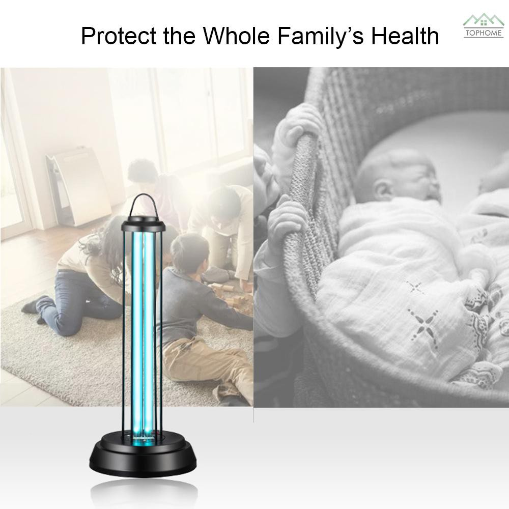 38W UV Disinfection Lamp Mobile Quartz Ultraviolet Germicidal Lamp UV Ozone Sterilization Lamp UV Sanitizer Light Air Purifier Deodorization Sterilizing Lamp Household Lamp