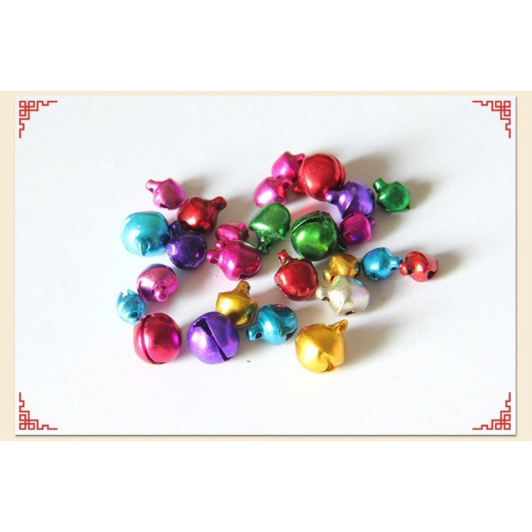100 pcs Xmas Colorful Iron Beads Christmas Jingle Bells DIY Jewelry 8x6 mm