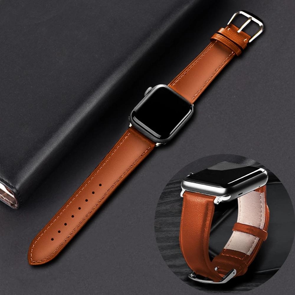 Apple Watch สายนาฬิกา Leather Strap for Iwatch สาย Apple watch Series 6 5 4 3 2 1Apple Watch SE สายนาฬิกาข้อมือ OjJz