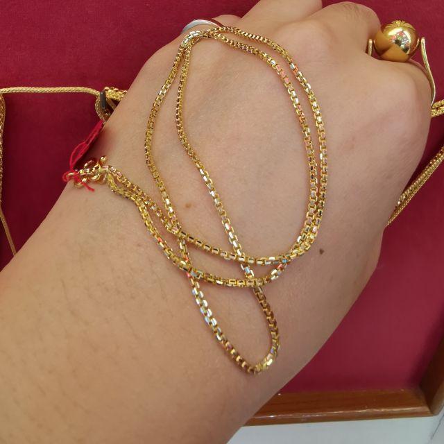 สร้อยคอทอง 96.5%  เลเซอร์ทองคำขาว น้ำหนัก 2 สลึง ยาว 22cm ราคา 16,200บาท