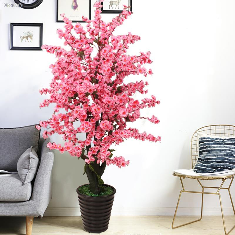 การจำลองพันธุ์ไม้อวบน้ำஐ♕☇ต้นไม้จำลองพระปลอมในกระถาง พลาสติก ดอกพีช ต้นไม้ ตกแต่งห้องนั่งเล่น ดอกไม้พื้นจรดเพดาน ดอกไม้ป