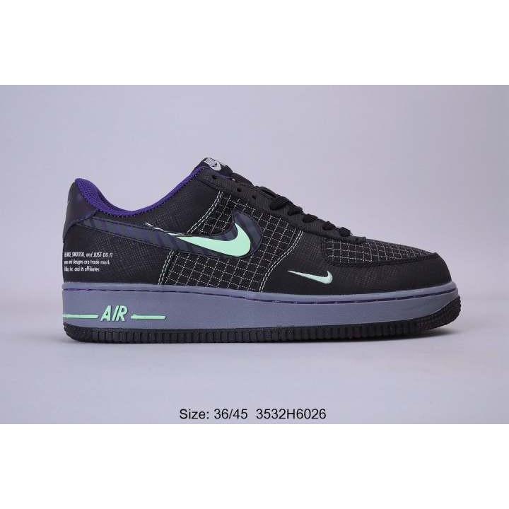 ไนกี้ Nike Air Force 1 AF1 กองทัพอากาศหนึ่งเงาเบ็ดสีดำและสีม่วงเบ็ดสะท้อนแสงสำหรับผู้ชายและผู้หญิงรองเท้าลำลองรายการ CT1
