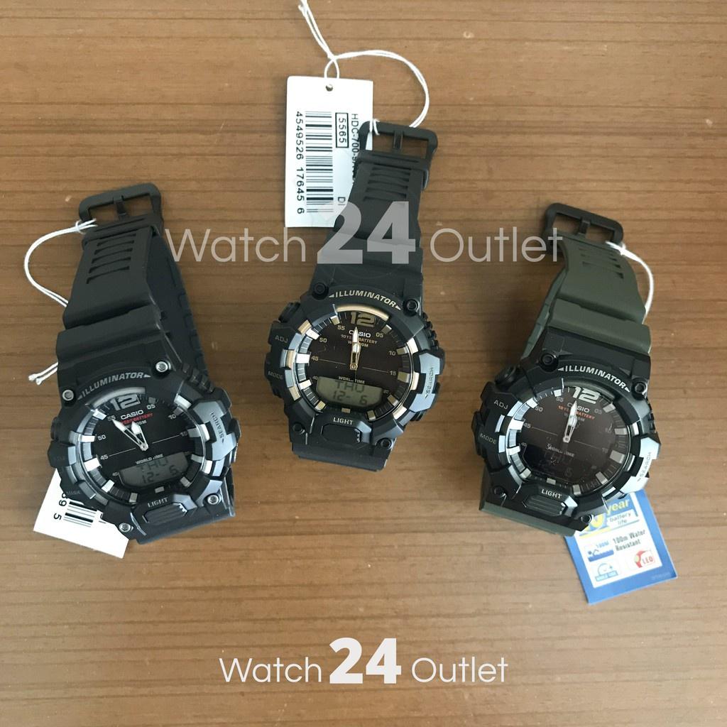 ❆☊✿CASIO นาฬิกาผู้ชาย ทรง G-SHOCK รุ่น HDC-700 HDC700 สีดำ เขียว ทอง สายยาง พร้อมกล่อง