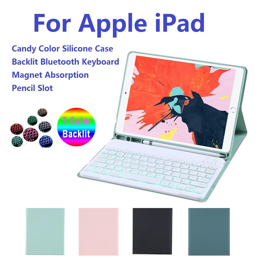 Magnetic Adsorption Backlit Bluetooth Keyboard Pencil Holder Liquid Silicone Case for Apple iPad Pro 11 Mini 5/4/3/2/1 i