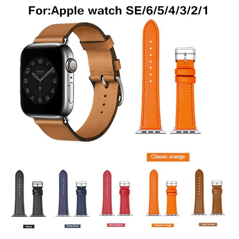 applewatch พร้อมส่งจากไทย!(แบบไหม่)สายสำหรับ Apple watch ทุกSeries SE 6/5/4/3/2/1 สายหนัง (Leather Band)