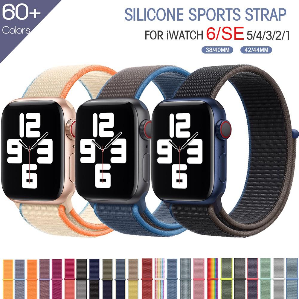 สาย applewatch 44 มม. 40 มม.ชุด6/SE/5/4 apple watch band ชุด 3 2 1 38 มม. 42 มม.nylon สายคล้อง iwatch สาย 40mm 44mm