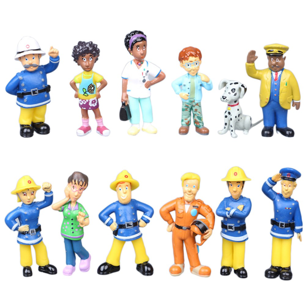 Fireman Figure Rescue Firefighter Garage Kit Pretend Toys Firemen Saving Team Action Figures Cake Decorations Toys Child