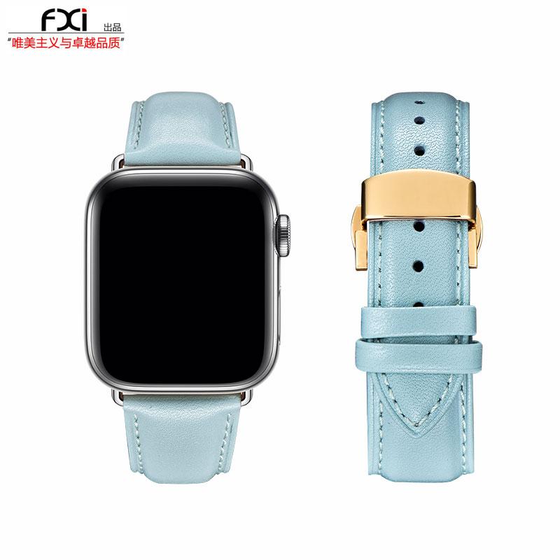 ΝΥสายนาฬิกา gshockสายนาฬิกา smartwatchสายนาฬิกา applewatchFXI Azureสีฟ้าอ่อนธรรมดาแอปเปิ้ลสายหนังapplewatchสายiwatch6543