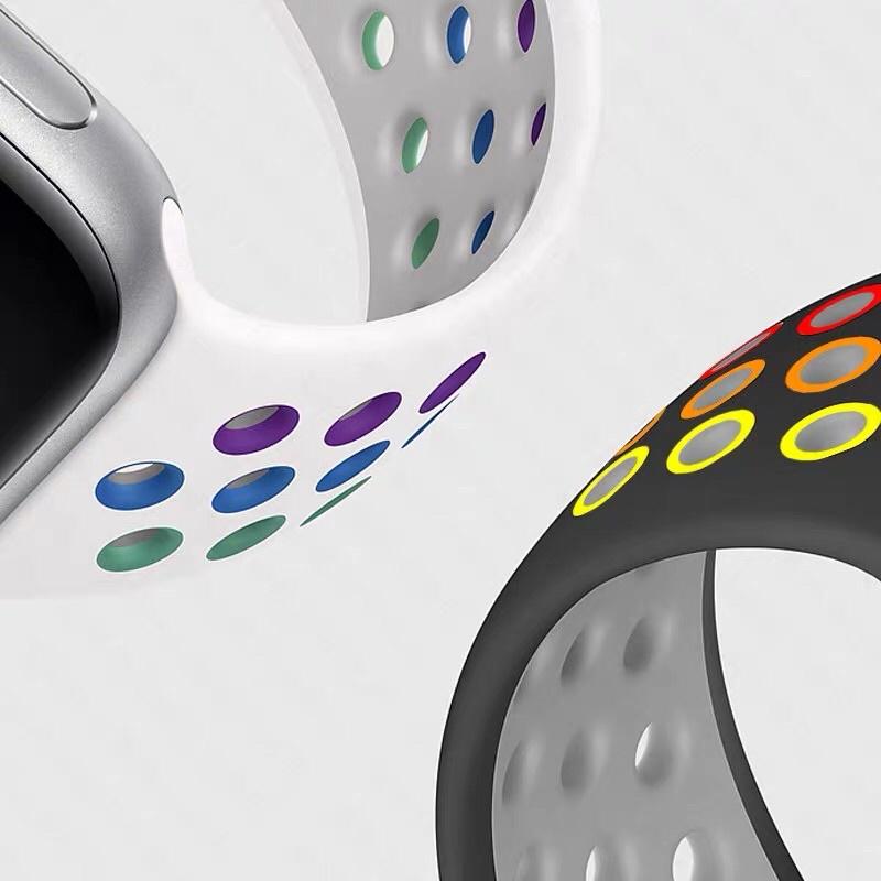 ▲☈◄( 🎉🎉 พร้อมส่ง  🎉🎉Nike รุ้ง ) สาย Sport Nike Style สายซิลิโคน For Apple Watch Series SE,6,5,4,3,2,1