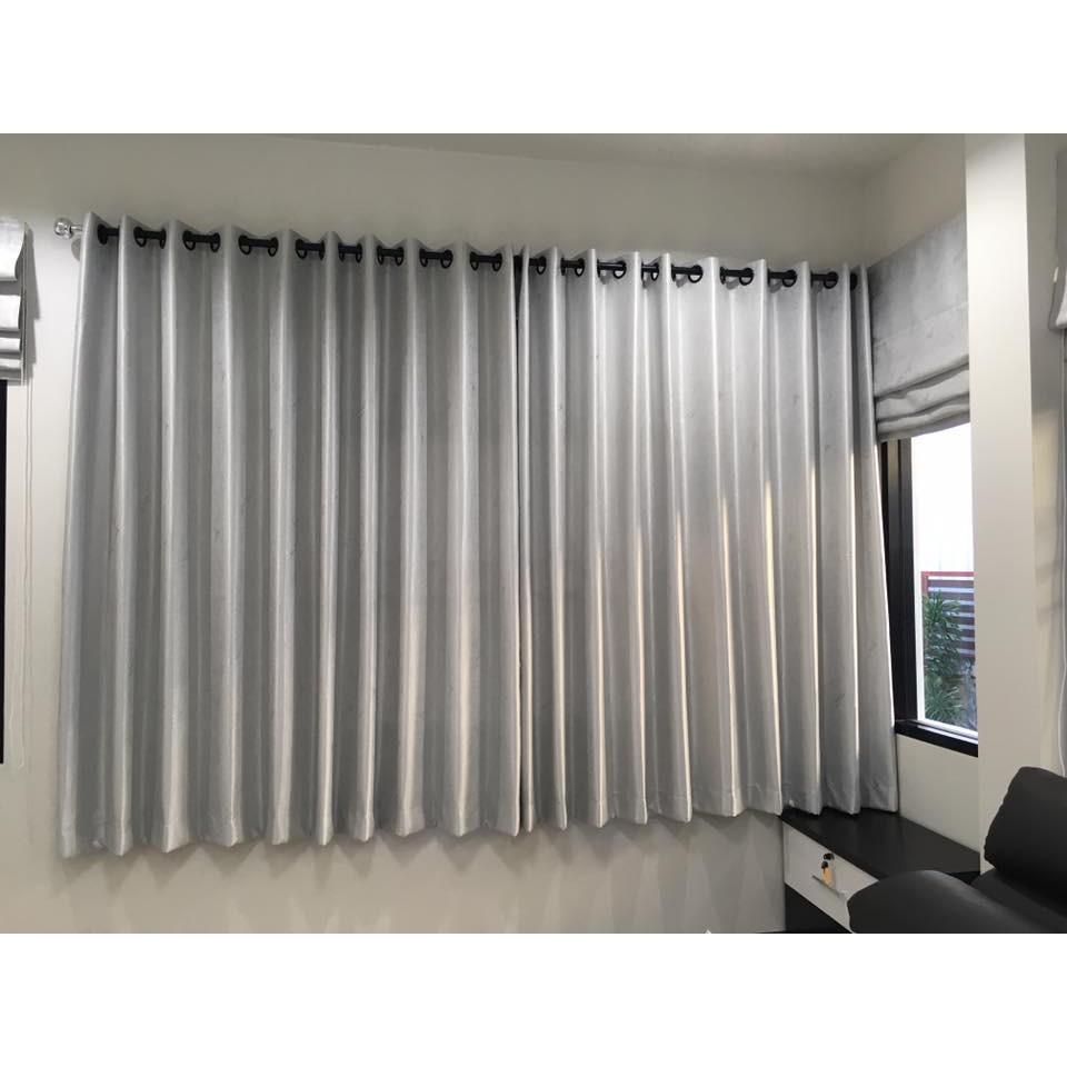 ผ้าม่านสำเร็จรูปกันแสงUVแบบเจาะตาไก่ราคาถูกติดตั้งได้เอง ม่านหน้าต่างม่านประตู สีทอง สีเทา ขนาด 130*150,130*225