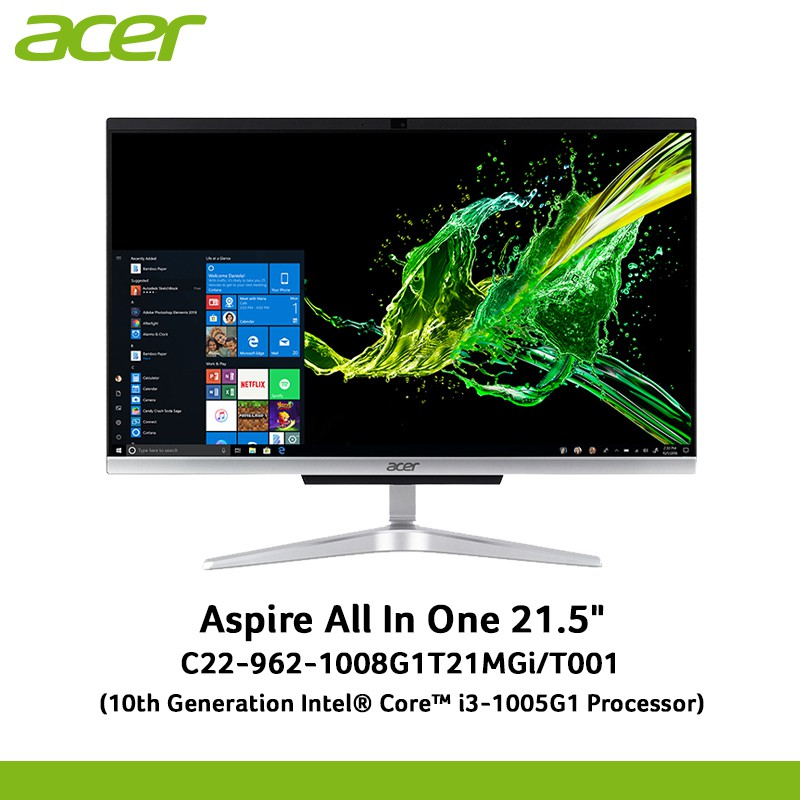 """Acer Aspire Desktop All In One C22-962-1008G1T21MGi/T001 21.5"""" Core i3-1005G1 /8GB DDR4/1TB+SSD256PCIE/MX130/Win10"""