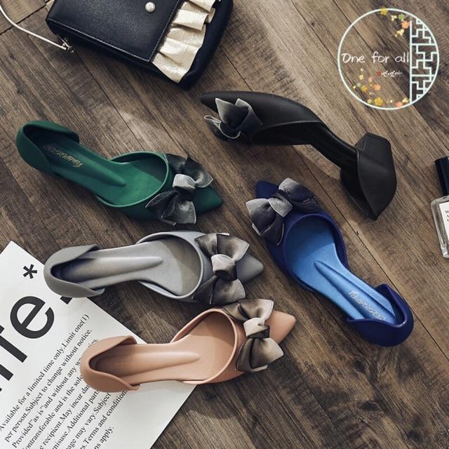 🌸พร้อมส่ง🌸รองเท้าคัชชูแบบรัดส้น รุ่นซิลิโคนTX75 รองเท้าส้นสูง รองเท้าแฟชั่น คัชชูหัวแหลมเนื้อเจลลี่ jelly