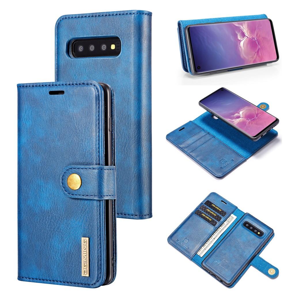เคส Galaxy S10+S10E⭐ปุ่มต่างๆ กระเป๋าสตางค์ ดึงดูดแม่เหล็ก หนังแท้ พลิกซองโทรศัพท์⭐S9+S8+S7 Edge S7Edge⭐Button Split Leather Case⭐PhoneCase PhoneCover Samsung Shell S10Plus S9Plus S8Plus