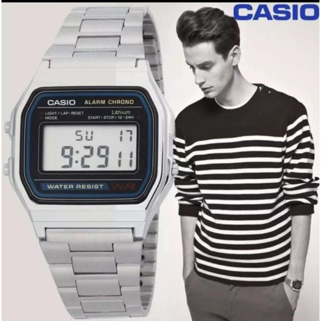 &casio❍☏✧Casio Digital Classic นาฬิกาข้อมือสุภาพบุรุษ สีเงิน สายสแตนเลส รุ่น A158WA-1DF