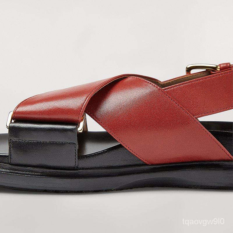 MARNIคลาสสิกFussbettผู้หญิงสนิมสีแดงหนังแกะข้ามรองเท้าแตะแบนรองเท้าแตะผู้หญิง