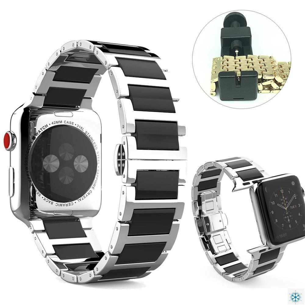 สายนาฬิกาข้อมือสแตนเลส + สายคล้องนาฬิกาสําหรับ Apple Watch Se 6 5 4 44mm 40mm Band Iwatch Series 3 2 38mm 42mm