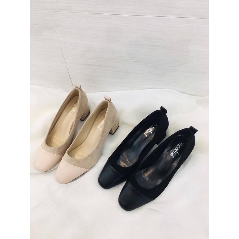 รองเท้าคัชชูสีดำและ-สีชมพูนู้ด กำมะหยี่