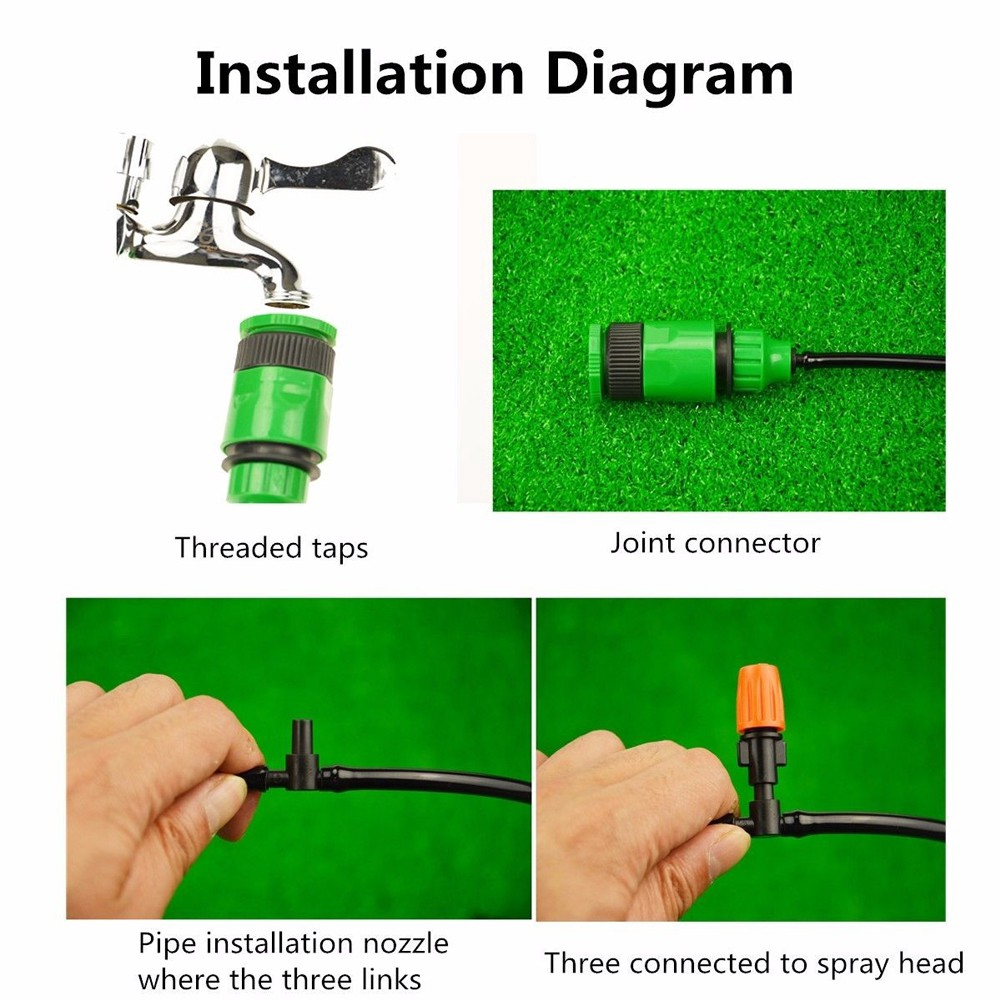 50X Micro Irrigation Joint Fittings 4//7mm Hose Nozzle Tee Connectors Garden Tool