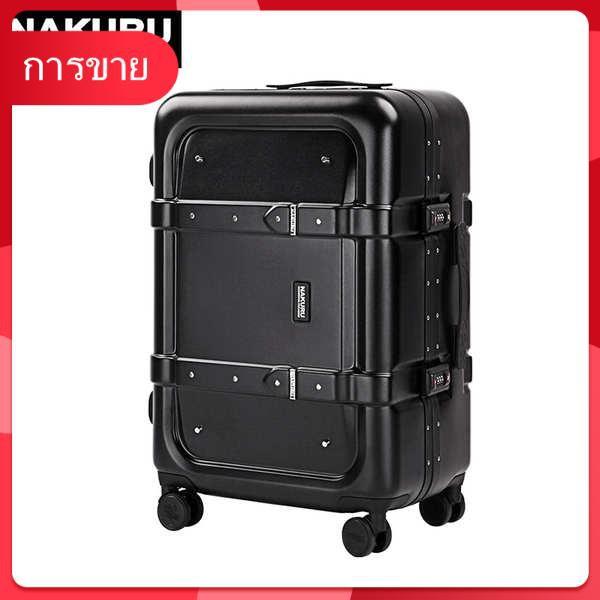 NAKURU แบรนด์กระเป๋าเดินทางชาย 24 นิ้วแฟชั่นกระเป๋าเดินทางหญิงกรอบอลูมิเนียมรถเข็น Universal ล้อ Retro รหัสผ่านกล่อง