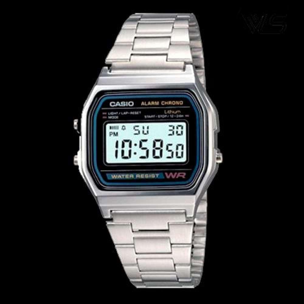 จัดส่งฟรีCasio นาฬิกาข้อมือผู้ชาย สายสแตนเลส รุ่น A158WA-1DF - สีเงิน