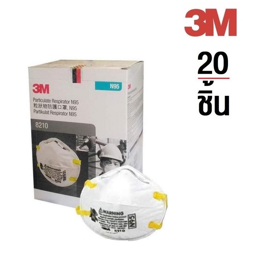 ❃✵✧3M 1กล่อง(มี20ชิ้น) 8210N95 หน้ากากป้องกันฝุ่น PM2.5 8210
