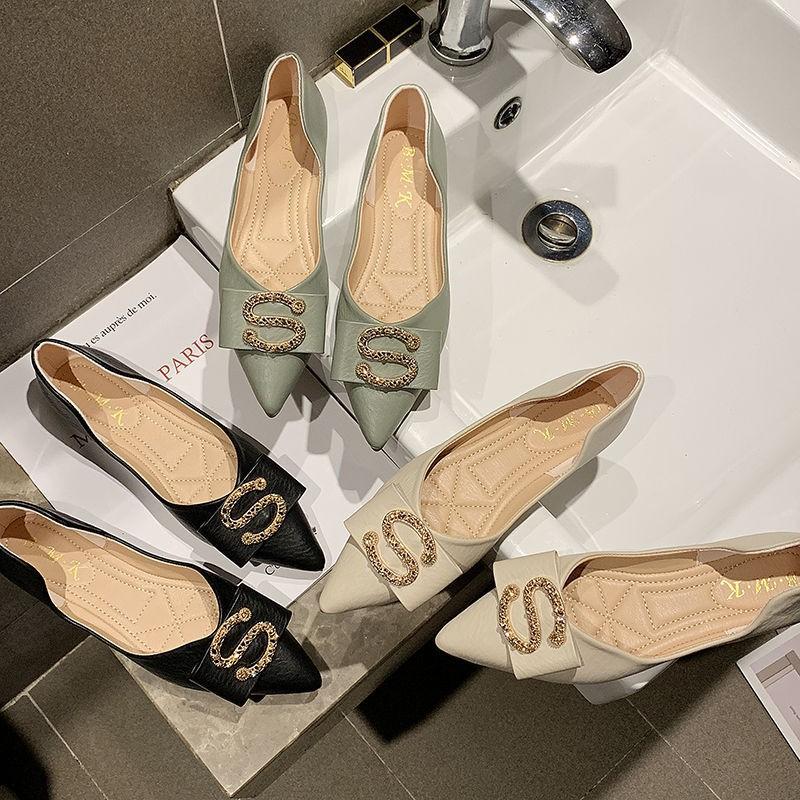 รองเท้าผู้หญิง🍄รองเท้าคัชชูเปิดส้น🍄รองเท้าคัชชู หัวแหลม🍄องเท้าลำลอง รองเท้าส้นแบน พื้นแบนนิ่มสวมใส่สบาย